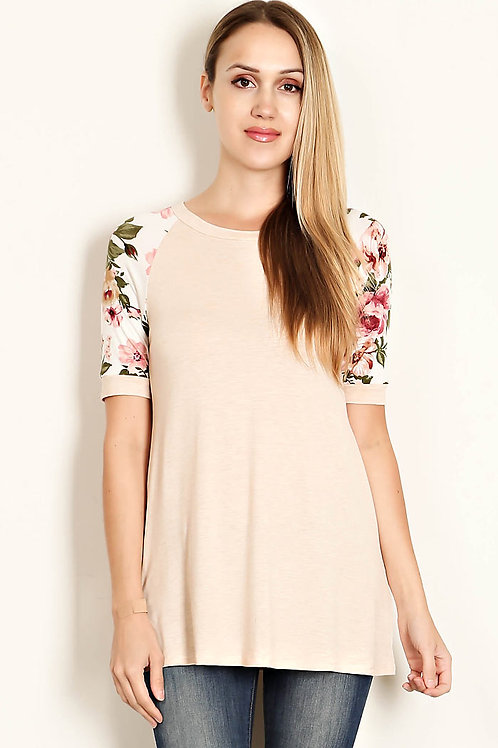 Blush/Floral Print Sleeves-Jersey Knit Top
