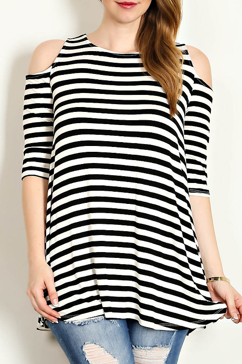 Plus Size Black/Stripe Cold Shoulder Jersey Knit Top