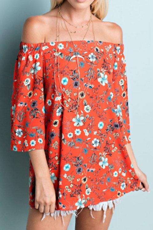 Red-Orange Floral Off Shoulder Top