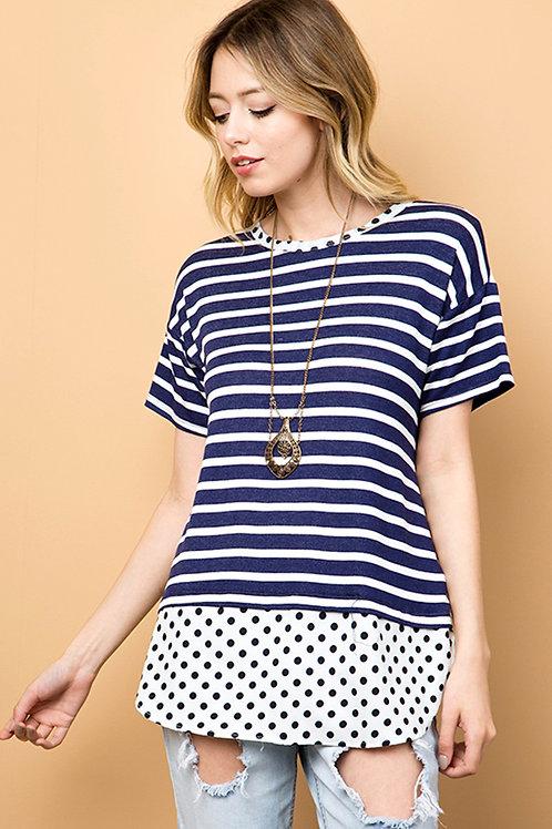 Navy Polka Dot Stripe Top