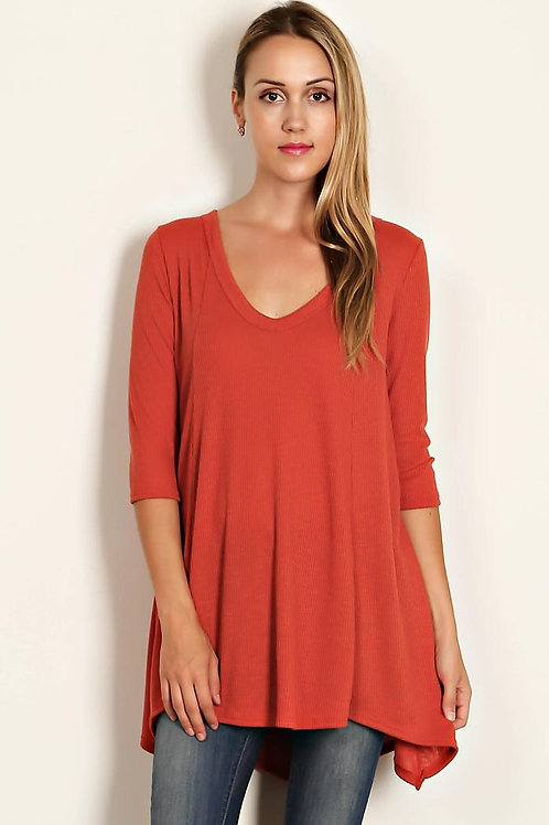 Rust Colored-Ribbed Knit V-Neck Tunic