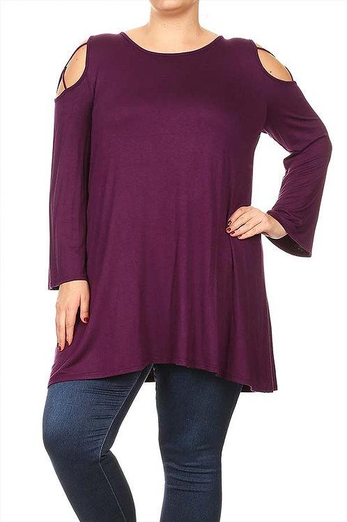 Plus Size Purple Cutout Top