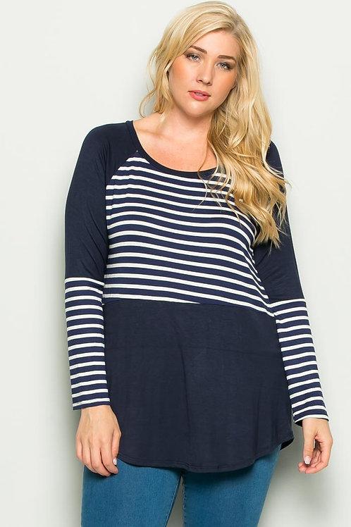 Navy Blue Stripe Tunic
