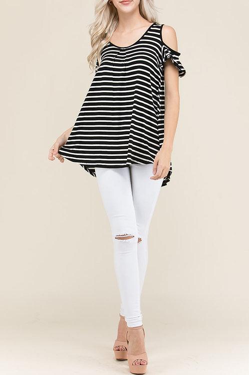 Black Lace Trim Back-Stripe Print Top