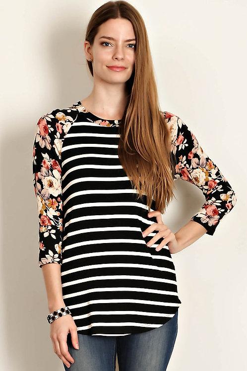 Black Stripe/Floral Print Sleeves Jersey Top
