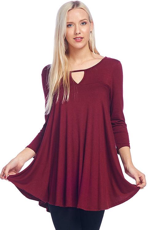 Burgundy Jersey Knit Tunic