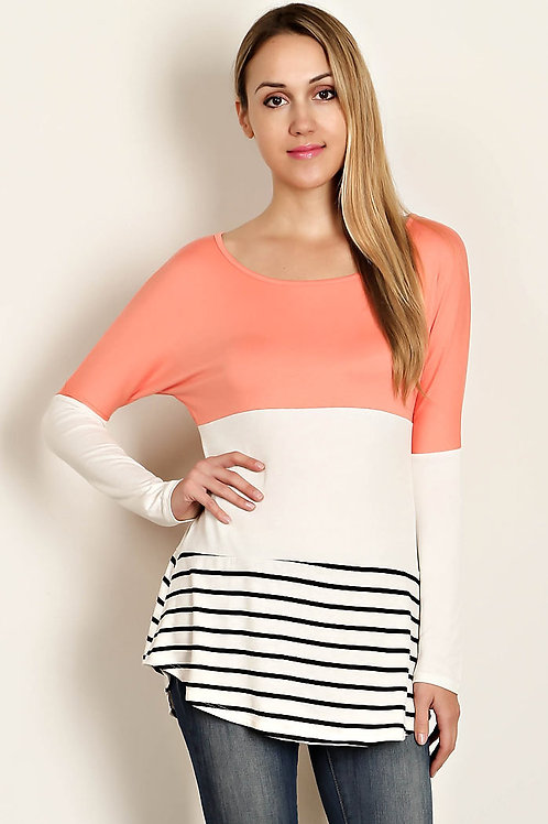 Lace Panel Back/Coral Color Block Top