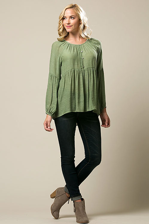 Herb Green Textured Woven Tunic