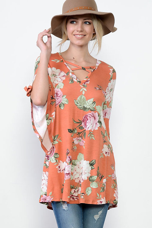 Coral Floral Print Knit Top