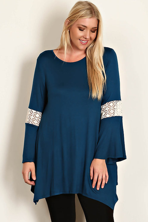Plus Size Teal Jersey Knit Tunic