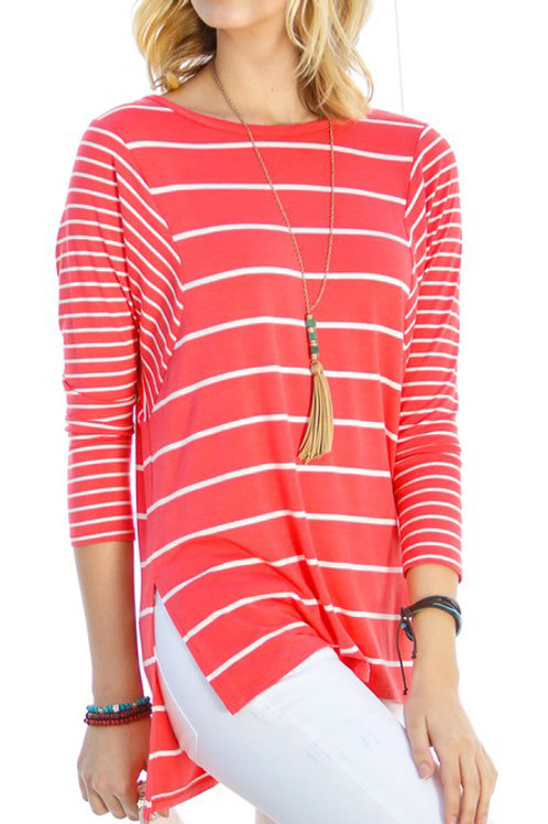 Coral 3/4 Sleeve Stripe Top