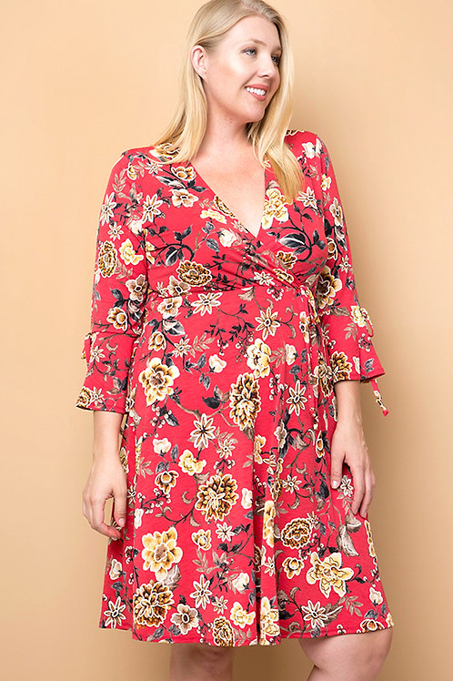 Plus Size Red/Mustard Floral Wrap Dress