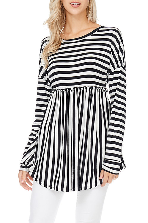 Black/Ivory Striped Baby Doll Top