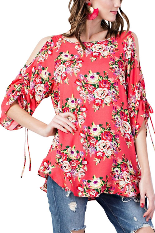 Hot Coral Cold Shoulder Top