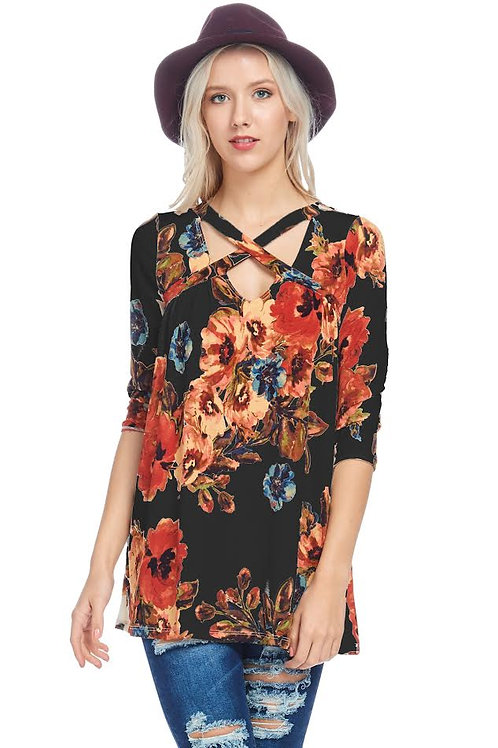 Black Floral Print Jersey Knit Tunic