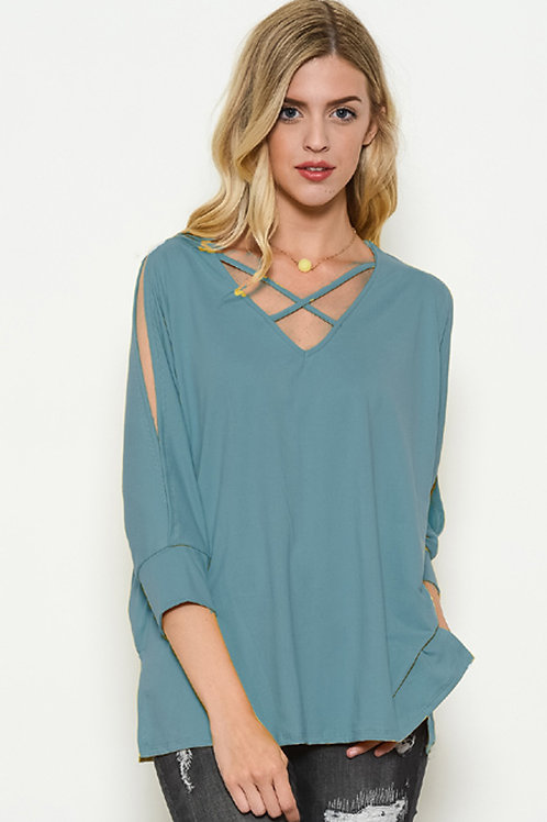 Blue Slit Open Sleeve /V Neck Top