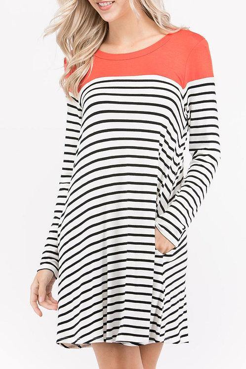Dark Orange Trim-Striped Print Dress