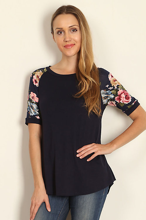 Navy/Floral Print Sleeves Jersey Knit Top