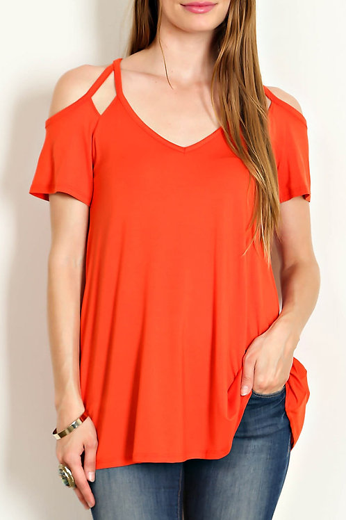 Tomato Colored- Knit Cut out Cold Shoulder Top