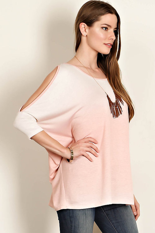 Coral Shadow Print Jersey Knit Top