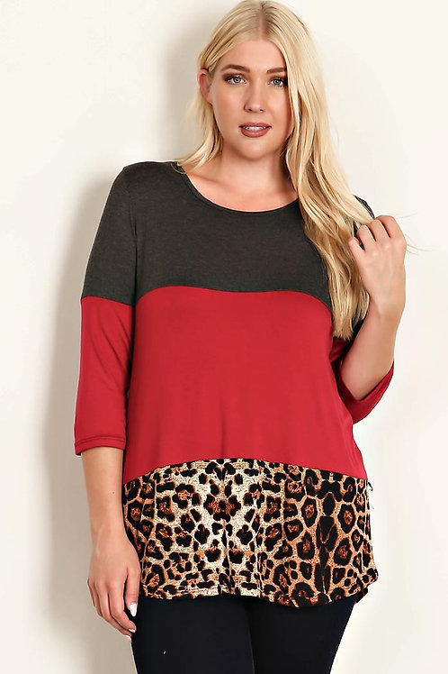 Plus Size Charcoal/Red LaceCrochet Knit Top