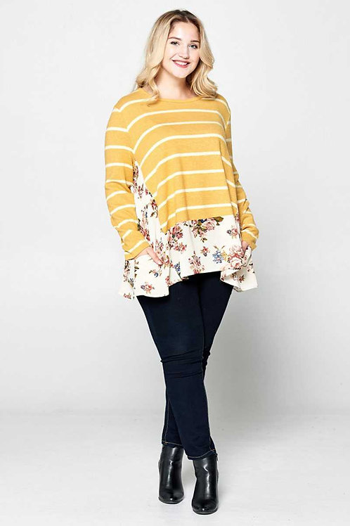 Plus Size Mustard Floral/Stripe Print Top