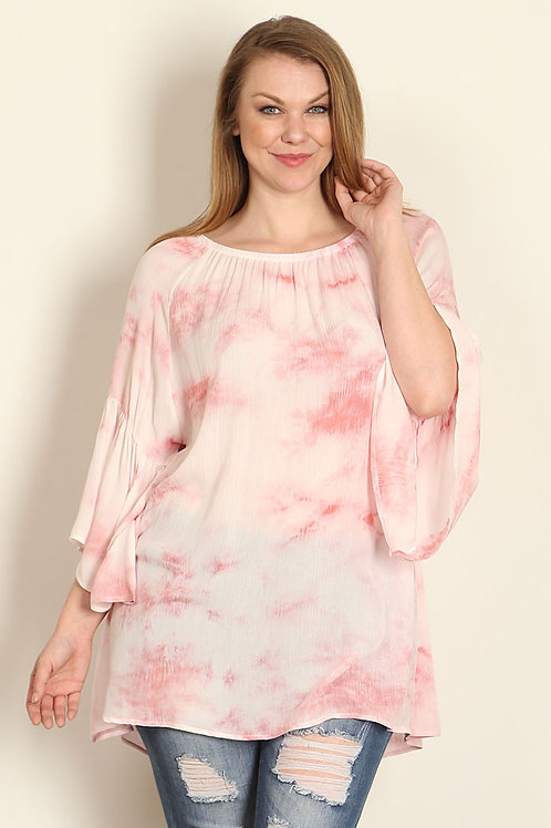 Plus Size Coral Tie Dye Tunic/Bell Sleeves