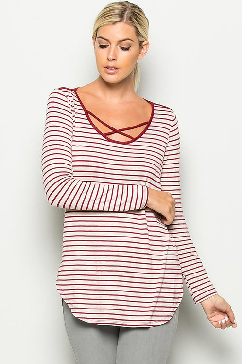 Crisscross Strap Accent Knit Top