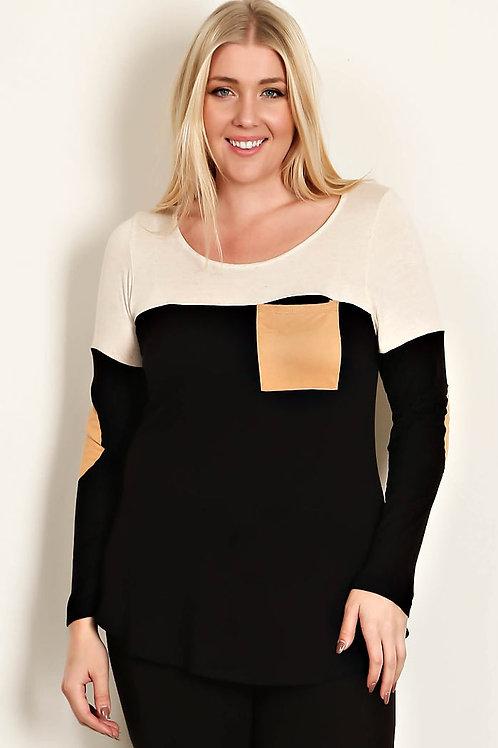 Plus Size Color Block Jersey Knit Top