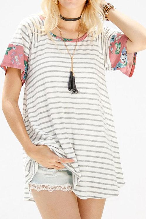 Mauve-Striped Floral Print Top