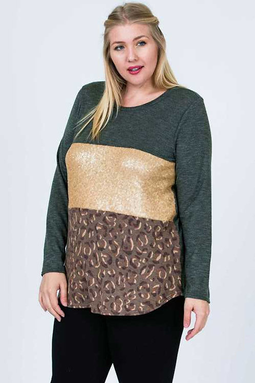 Plus Size Olive -Sequin Leopard Top
