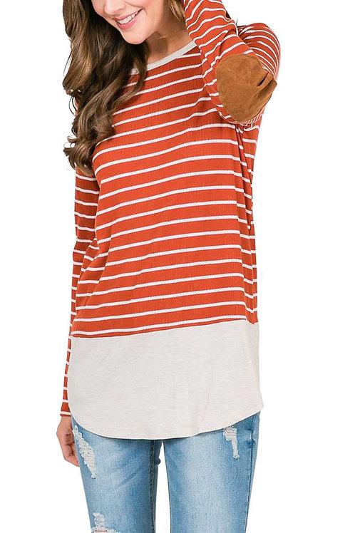 Rust Striped Knit Top
