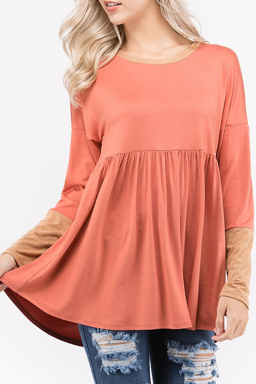 Rust Solid Jersey Knit Tunic