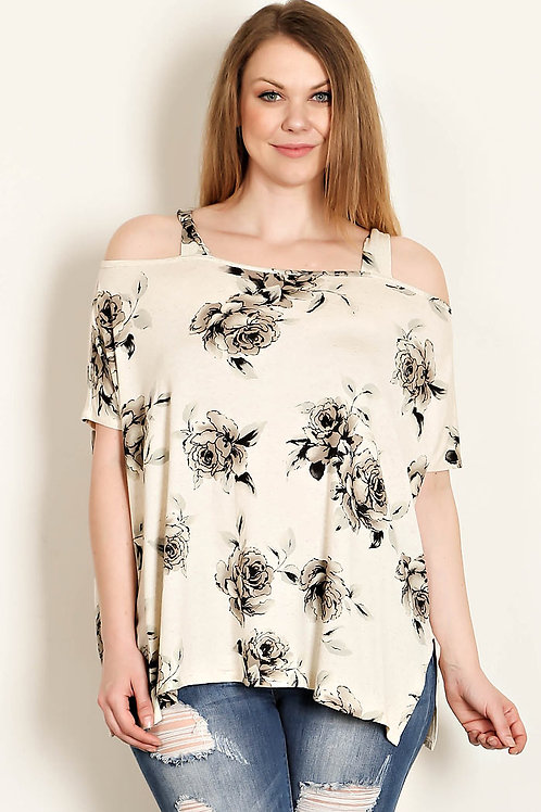 Floral Print Off The shoulder Top-Oatmeal/Grey