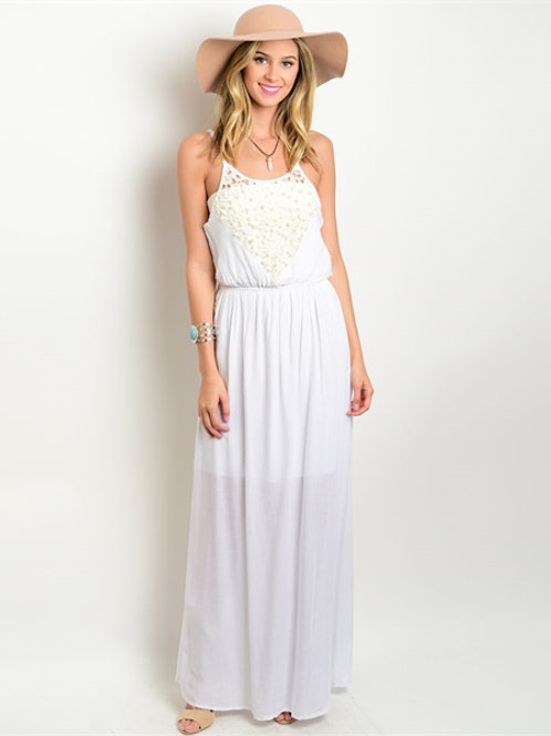 White Maxi Dress/Beaded Detail