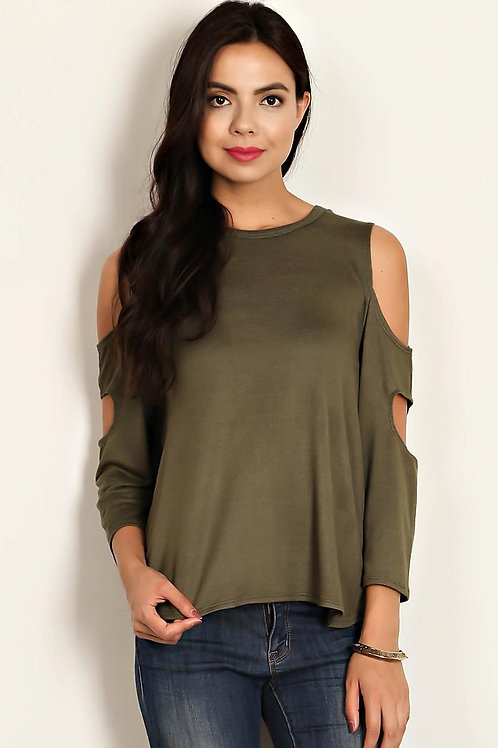 Olive Solid Jersey Knit Top