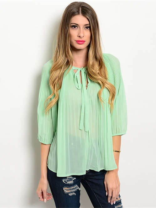 Pleated Mint Green Top