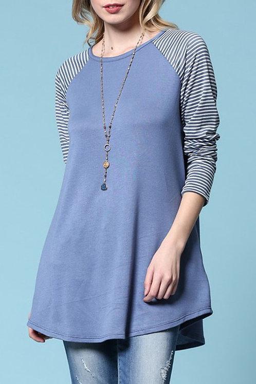 Blue Raglan, Striped Sleeve Top
