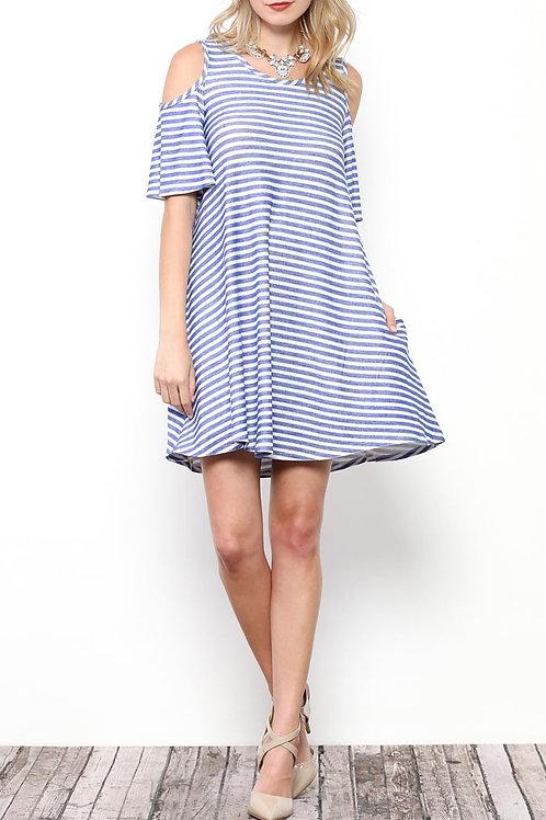 Royal Blue Stripe Cold Shoulder Detail Dress