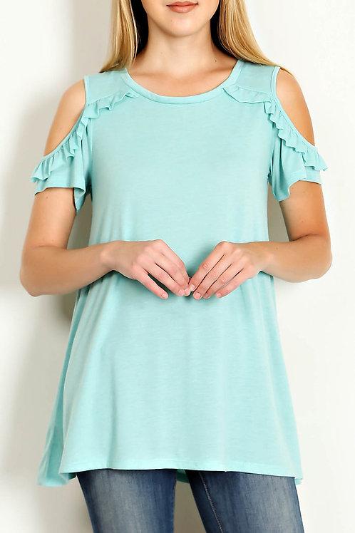 Mint Ruffle Trim Cold Shoulder Jersey Knit Top