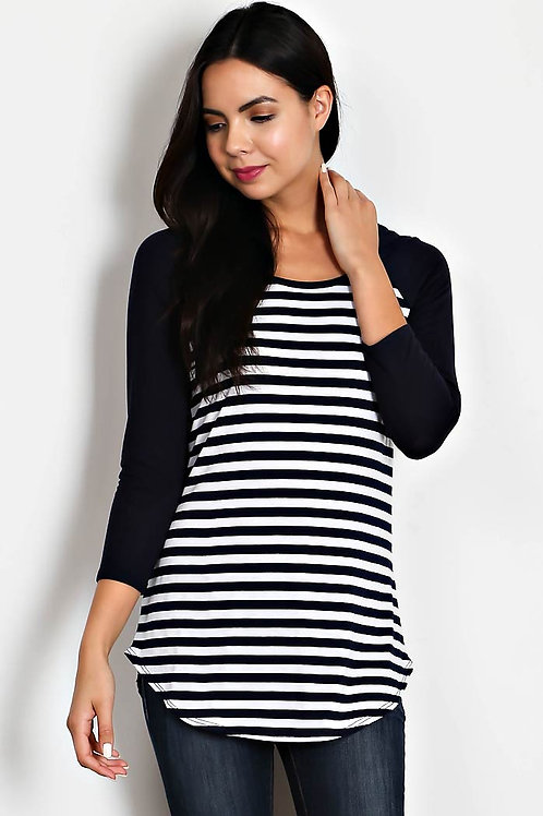 Navy Stripe Raglan Top