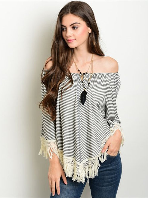 Charcoal Ivory Cream Top