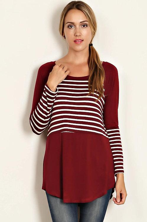 Burgundy Stripe Knit Solid Block Tunic