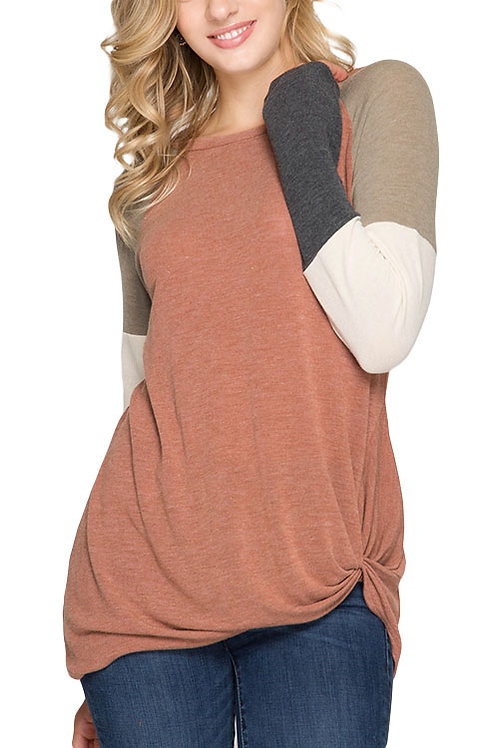 Cinnamon Color Block Long Sleeve Top