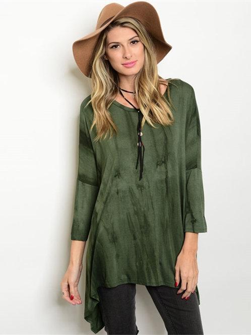 Forest Green Tie Dye Top