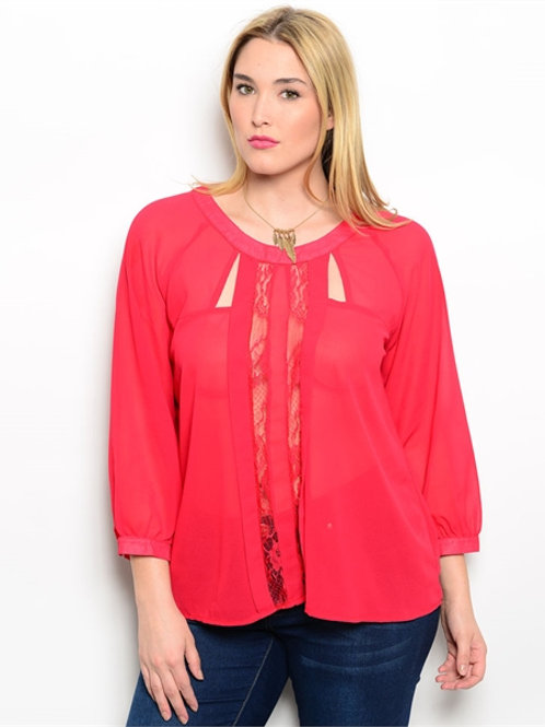 Red/Lace Detail Plus Size Top