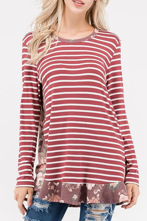 Burgundy Stripe -Floral Print Jersey Top