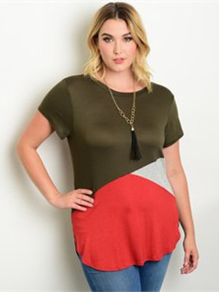 Olive Rust Grey Plus Size Top