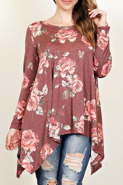 Plus Size Mauve -Floral Print Flaring Top