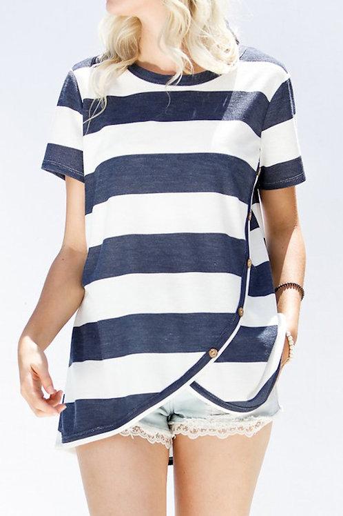 Navy Striped Short Sleeve Top